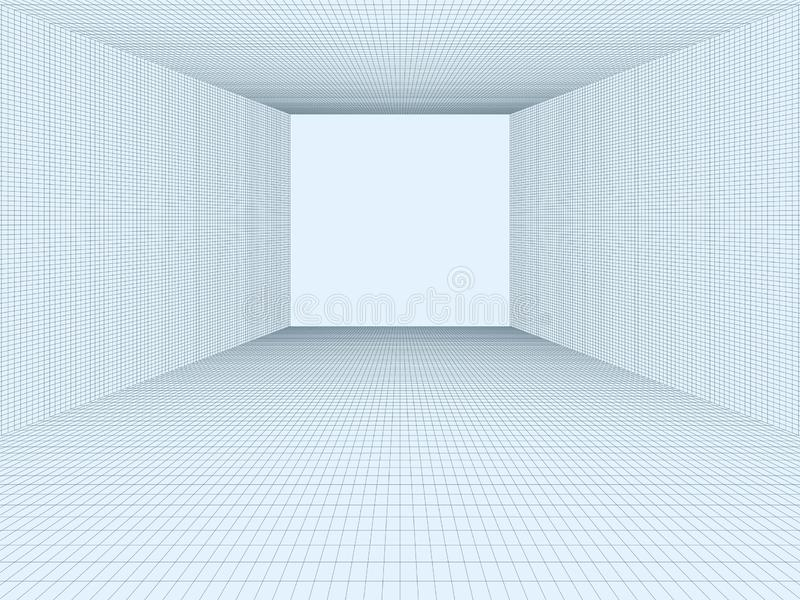Lege ruimte, 3D abstracte cellen, lijnen Vectorconcept het virtuele netwerk van de werkelijkheidsvisualisatie, net Element met de stock illustratie