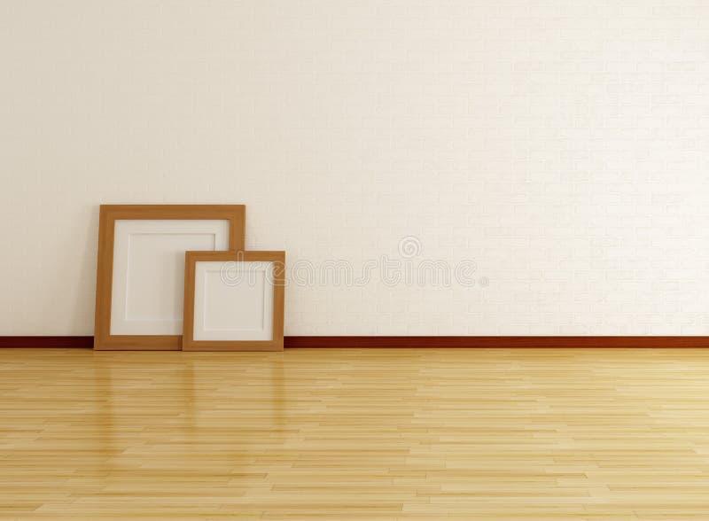 Lege ruimte met bakstenen muur en frame vector illustratie