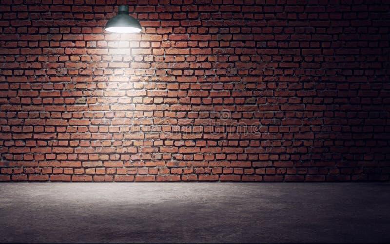Lege ruimte met bakstenen muur en lamp het 3d teruggeven vector illustratie