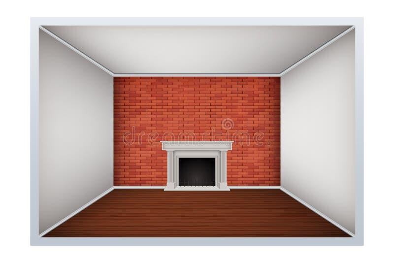 Lege ruimte met bakstenen muur en open haard stock illustratie