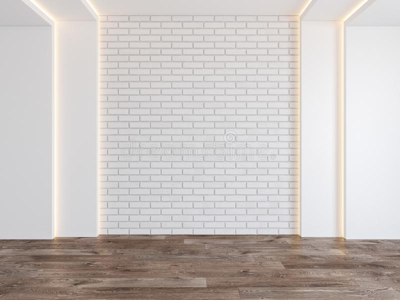 Lege ruimte met lege bakstenen muur, verborgen licht, parket houten vloer vector illustratie