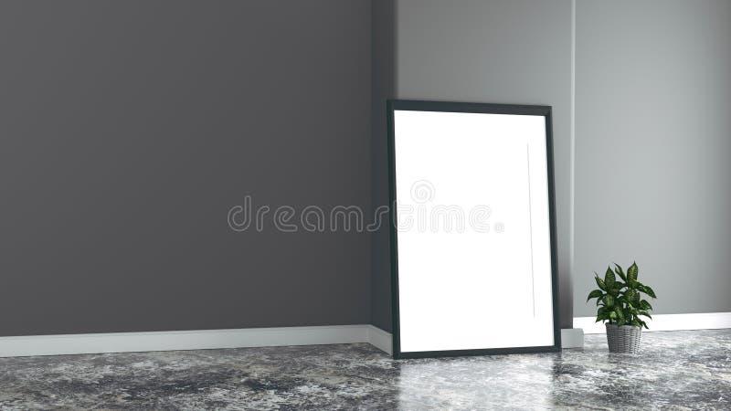 Lege ruimte met beeld en installaties, donkere muur, het 3D teruggeven stock illustratie