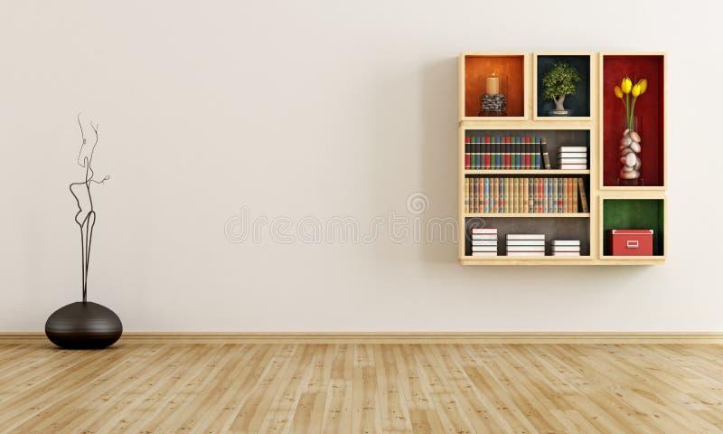 Lege ruimte met boekenkast stock illustratie