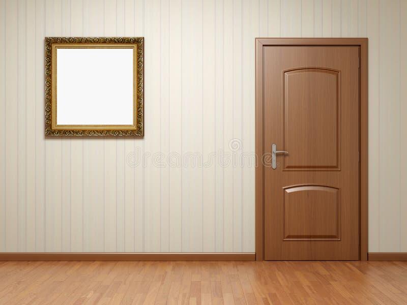 Lege ruimte met deur en frame royalty-vrije illustratie