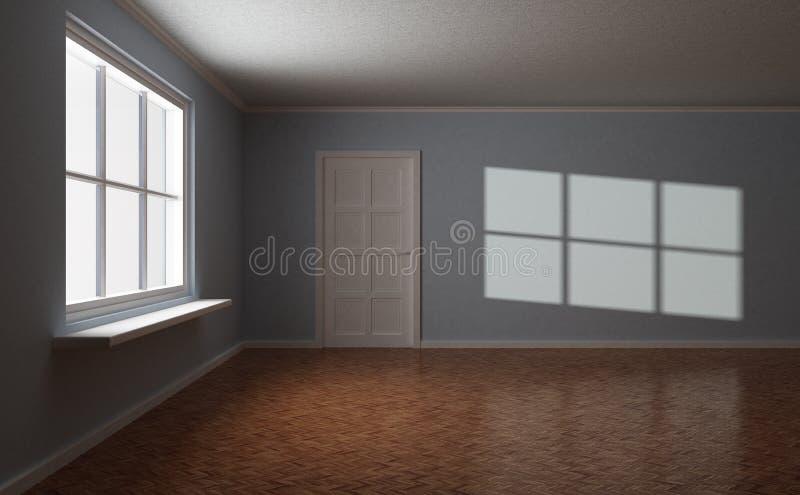 Lege ruimte, met deur en venster, zonhoogtepunt vector illustratie