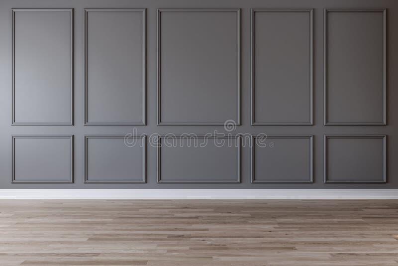 Lege ruimte met donkergrijze muur, het vormen en houten vloer vector illustratie