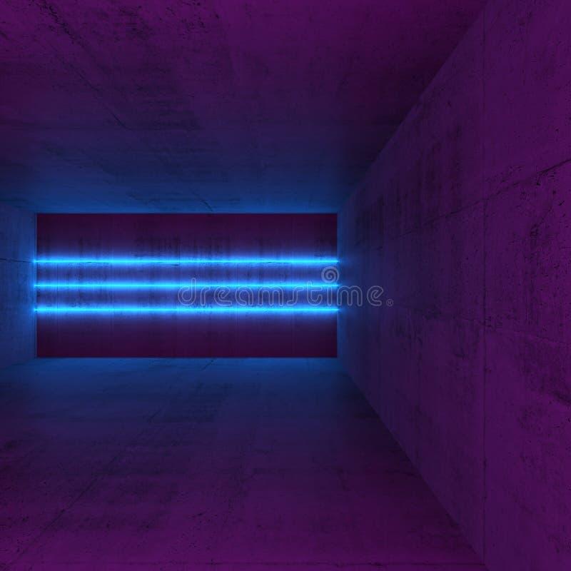 Lege ruimte met drie blauwe neonlichtlijnen stock illustratie