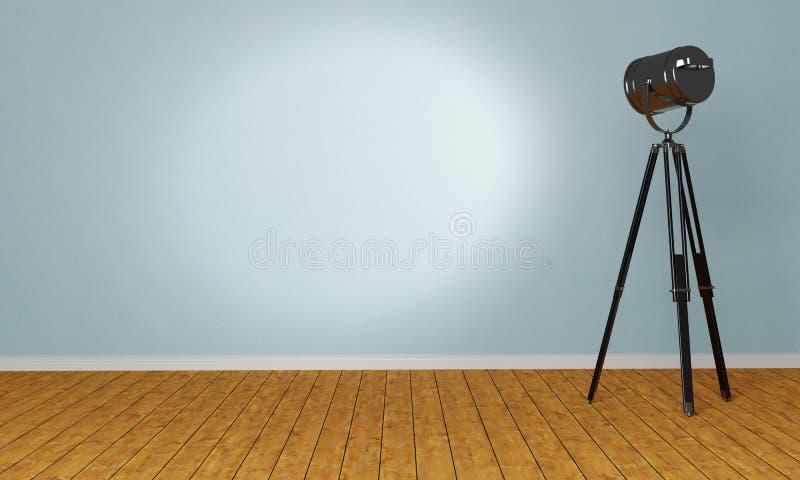 Lege ruimte met een schijnwerper op een driepoot stock illustratie