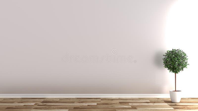 Lege ruimte met installaties op houten vloer, witte muurachtergrond het 3d teruggeven vector illustratie