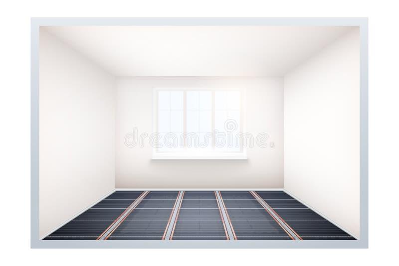 Lege ruimte met IR-verwarmingsvloer en venster royalty-vrije illustratie