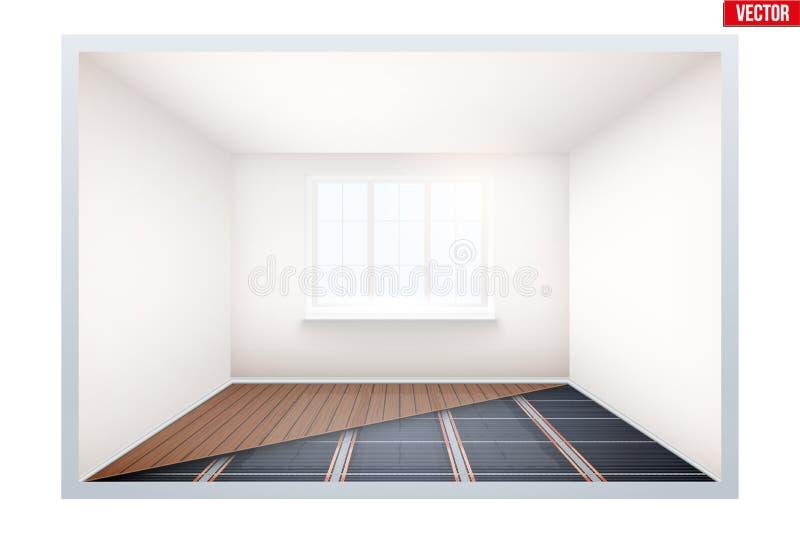 Lege ruimte met IR-verwarmingsvloer en venster vector illustratie