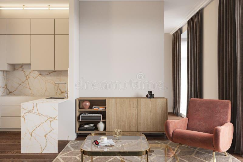 Lege ruimte met koraalleunstoel, console, koffietafel en keuken vector illustratie
