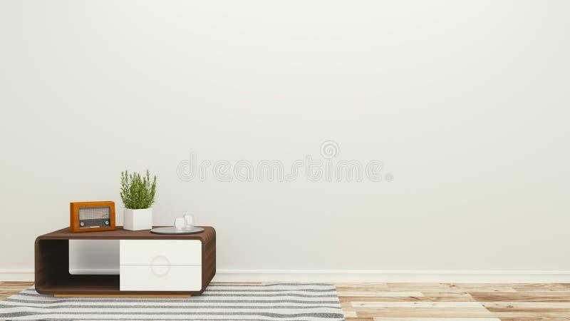 Lege ruimte met lijst en installaties, tropische stijl het 3d teruggeven stock illustratie