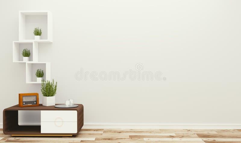 Lege ruimte met lijst en installaties, tropische stijl het 3d teruggeven royalty-vrije illustratie