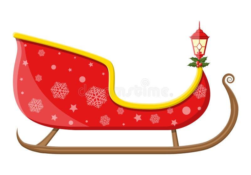 Lege santaar met sneeuwvlokken, hulst en lamp royalty-vrije illustratie