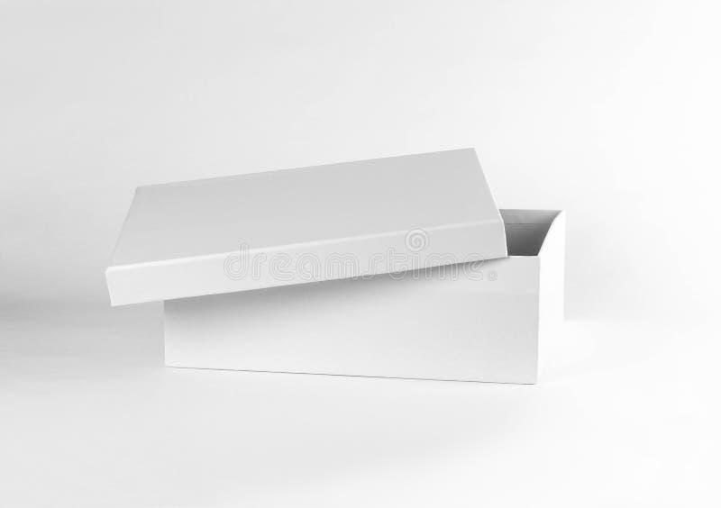 Lege schone doos Schoendoos Sluit omhoog Geïsoleerd op witte backgroun royalty-vrije stock afbeelding