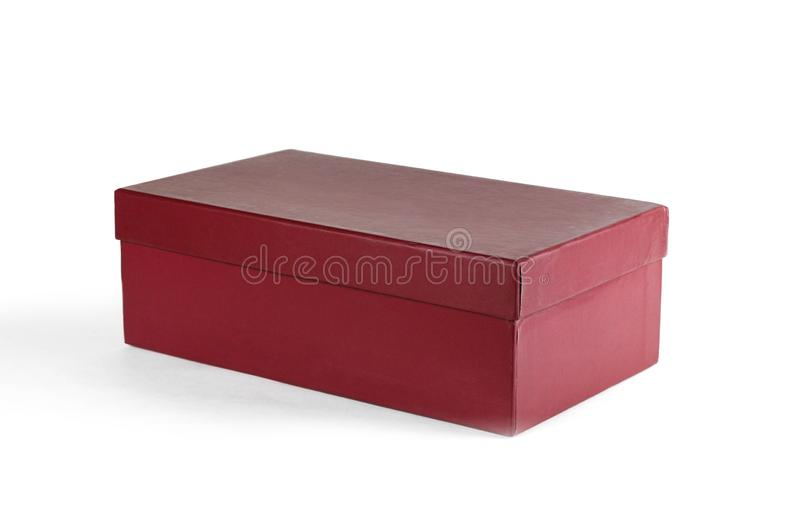 Lege schone doos Schoendoos Sluit omhoog Geïsoleerd op witte backgroun stock afbeelding