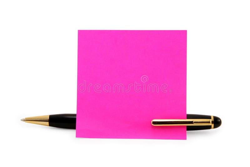 Lege schrijfpapierstok op een pen stock afbeelding