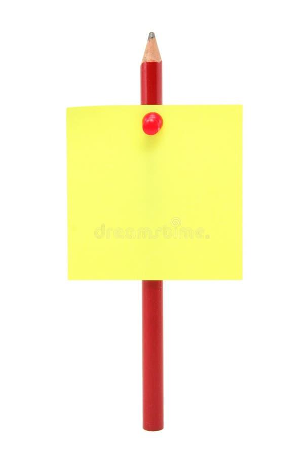 Lege schrijfpapierstok op een potlood royalty-vrije stock fotografie