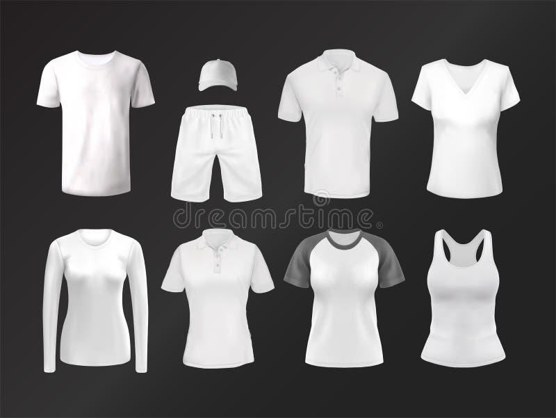 Lege slijtage of duidelijke, lege kleding voor model Achtergrond of malplaatje voor kledingsdruk vector illustratie