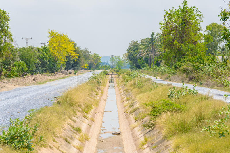 Lege sloot zonder water van El Nin o-effect in Thailand royalty-vrije stock fotografie