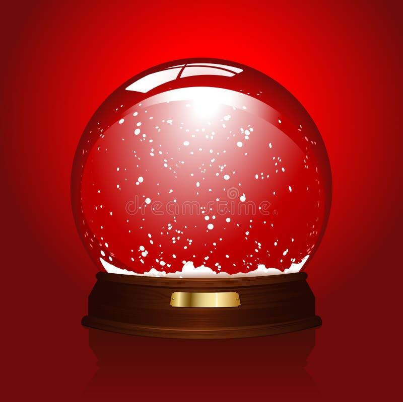 Lege snowglobe op rood stock illustratie
