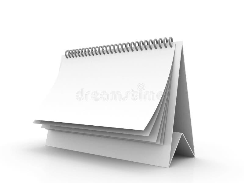 Lege spiraalvormige Kalender op witte achtergrond 3D Illustratie royalty-vrije illustratie