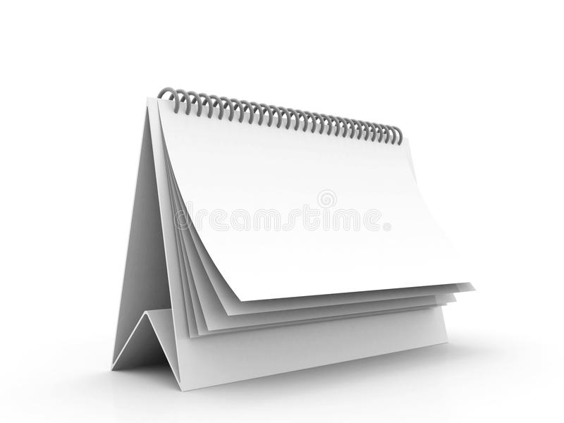 Lege spiraalvormige Kalender op witte achtergrond 3D Illustratie stock illustratie