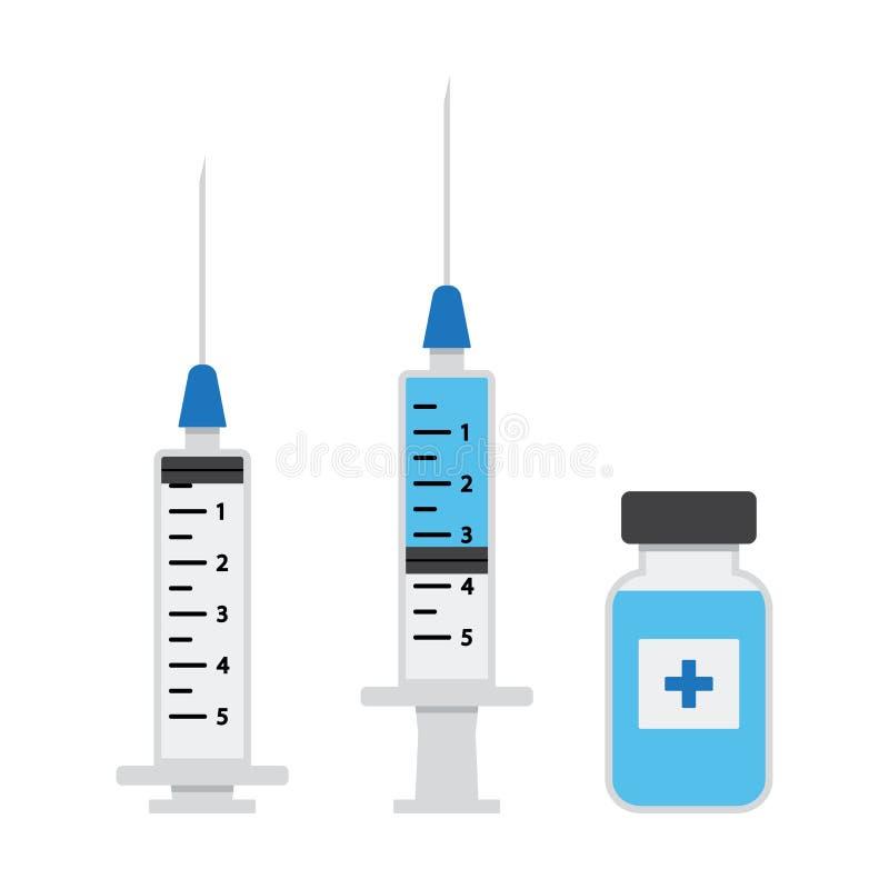 Lege spuit voor injectie, spuit met blauw vaccin, flesje geneeskunde Vector vector illustratie