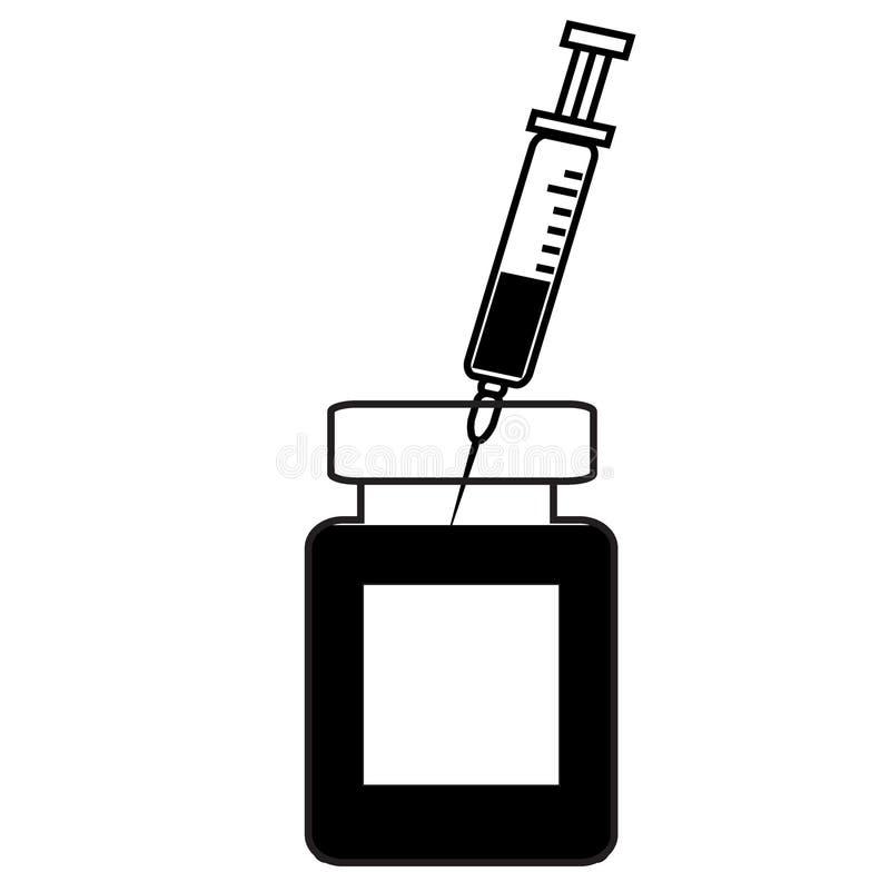 Lege spuit voor injectie, spuit met vaccin, flesje geneeskunde stock illustratie