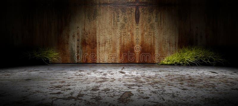 Lege straat als achtergrond en concrete muur stock illustratie