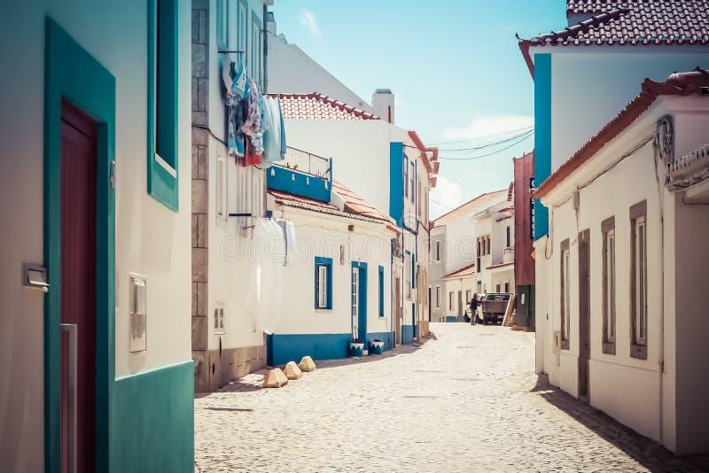 Lege straat in Ericeira Portugal royalty-vrije stock afbeeldingen