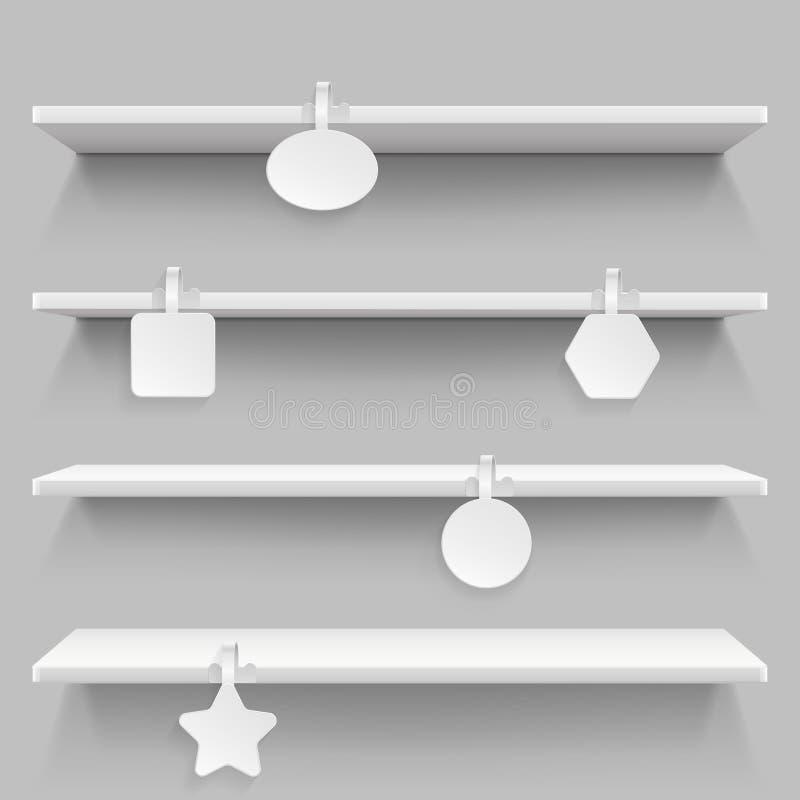 Lege supermarkt kleinhandelsplanken met de reclame van wobblers vectorillustratie stock illustratie