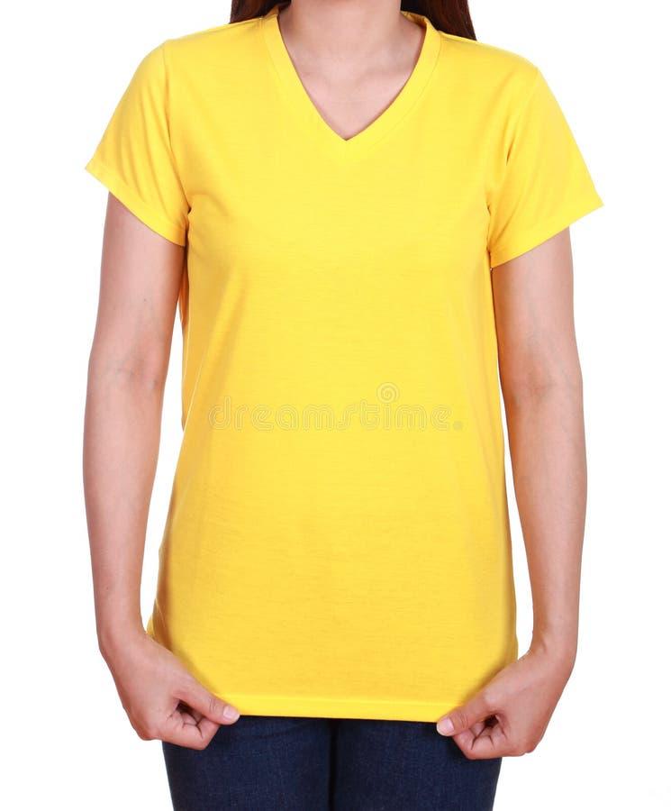 Lege t-shirt op vrouw royalty-vrije stock afbeelding