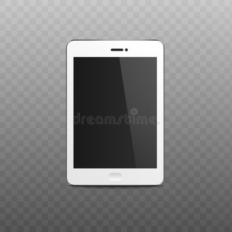 Lege tablet of het mobiele telefoonscherm 3d vector geïsoleerde modelillustratie stock illustratie