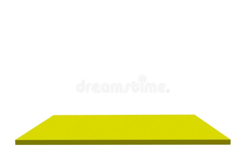 Lege top van gele, middelgrote plastic tafel of teller, geïsoleerd op witte achtergrond Voor productweergave royalty-vrije illustratie