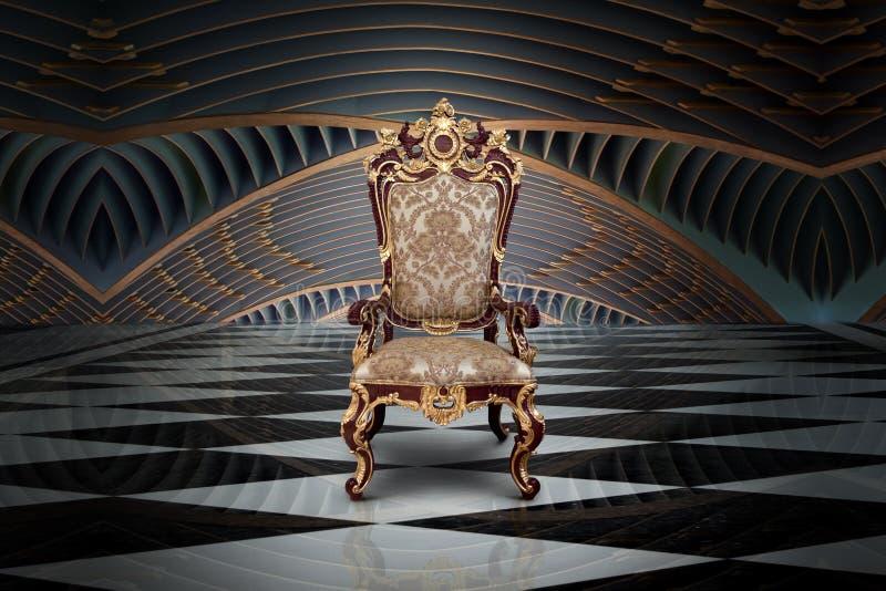 Lege troon in zaal stock afbeelding
