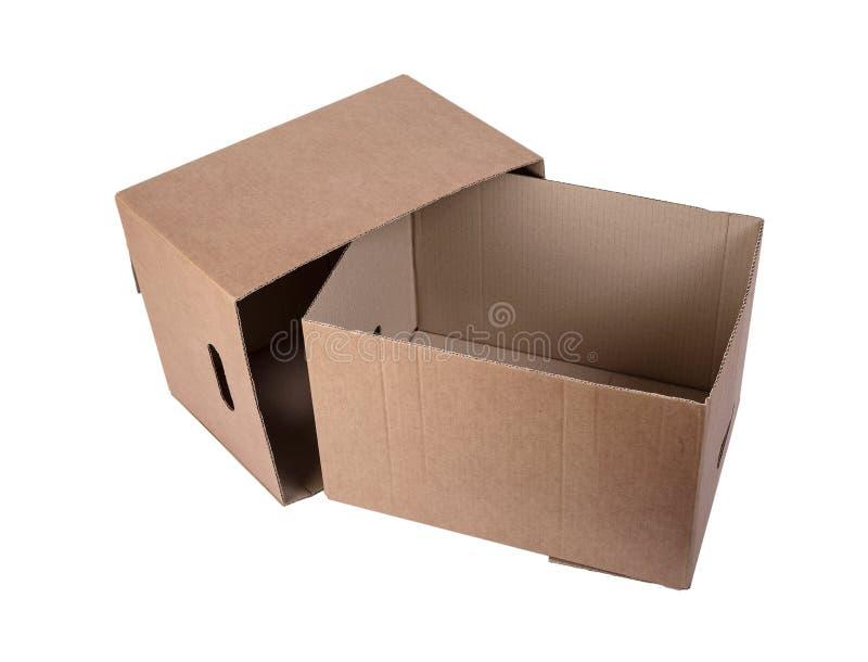 Lege tweedelige die Kartondoos op wit wordt geïsoleerd stock afbeeldingen