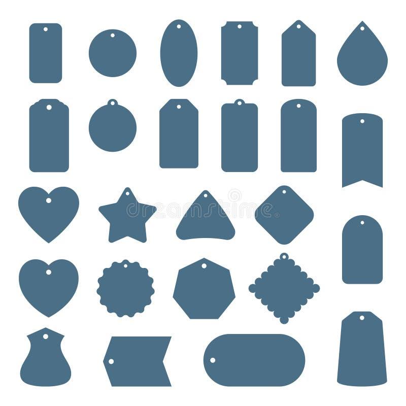 Lege uitverkoop- of cadeautagenset Hang markeringen op witte achtergrond worden geïsoleerd die Rechthoekig, sterren en badge vorm stock illustratie