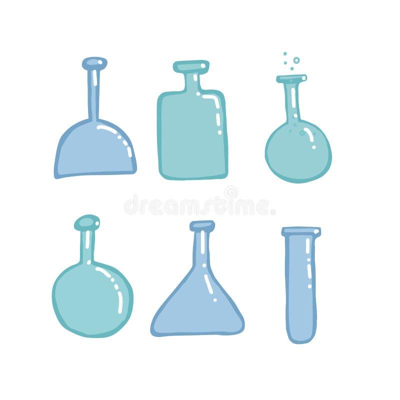 Lege vector de schetsonderwijs van Chemiereageerbuizen en wetenschapsillustratie in kleuren vlakke stijl Reeks van Hand getrokken stock illustratie