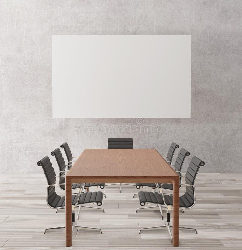 Lege vergaderzaal met omhoog stoelen, houten lijst, houten vloer, concrete muur, affiche voor spot, het 3d teruggeven stock afbeelding