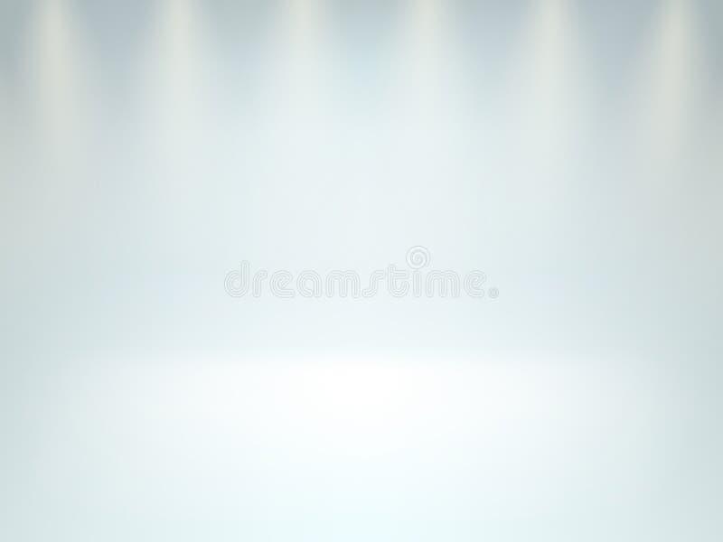 Lege vlotte de scèneachtergrond van de ruimtestudio Licht binnenland met copyspace Warme schijnwerper Eps 10 stock illustratie