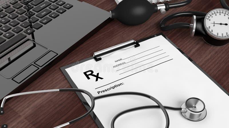 Lege voorschriftvorm, medische apparatuur en laptop stock illustratie