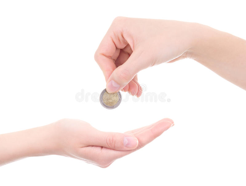 Lege vrouwelijke palm en hand die euro die muntstuk houden op wit wordt geïsoleerd stock afbeeldingen