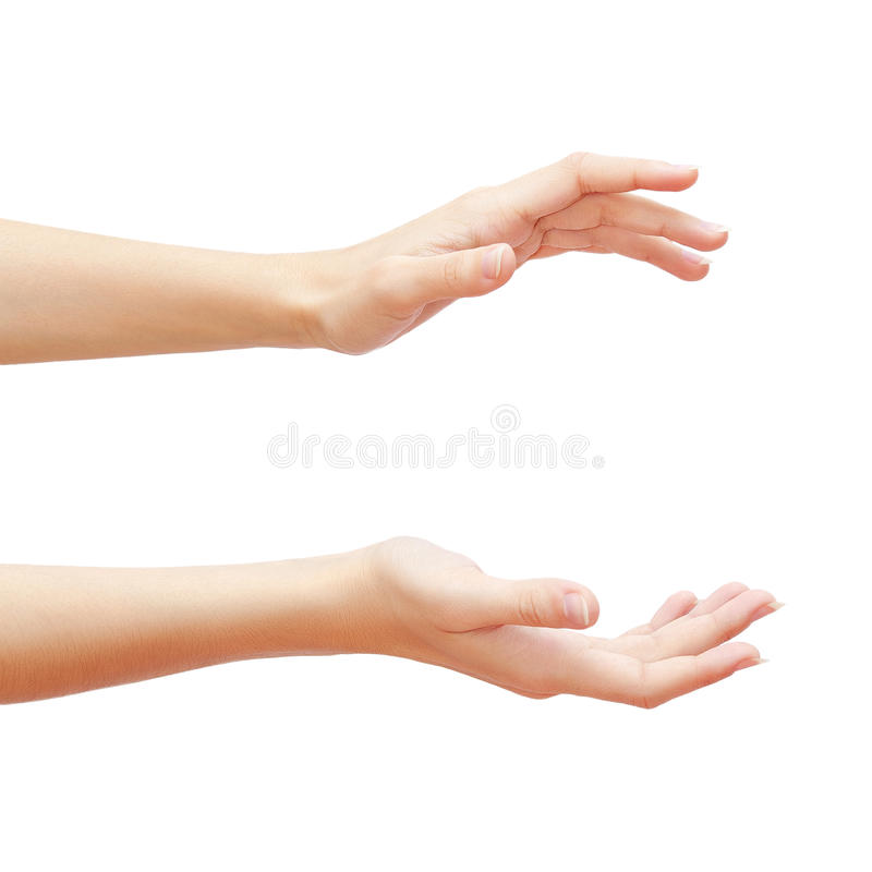Lege vrouwenhanden die op witte achtergrond worden geïsoleerd? royalty-vrije stock afbeelding