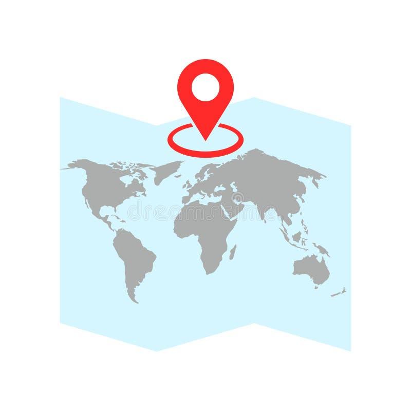 Lege wereldkaart, illustratie op witte achtergrond royalty-vrije illustratie