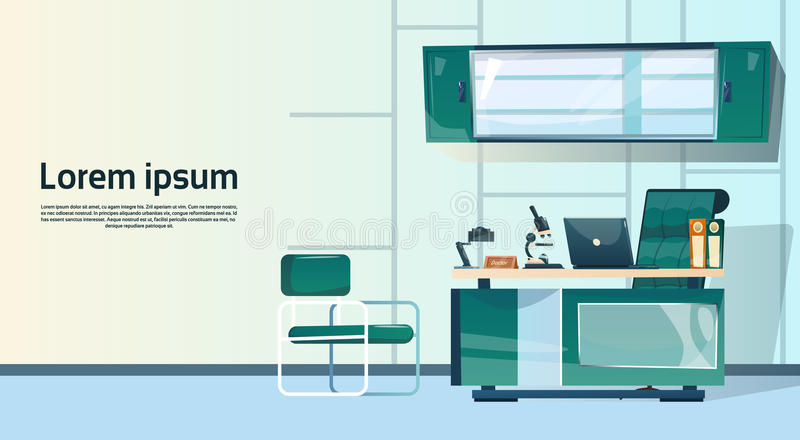 Lege Werkplaats, het Bureau van de de Computerwerkruimte van de Bureaustoel Geen Mensen vector illustratie