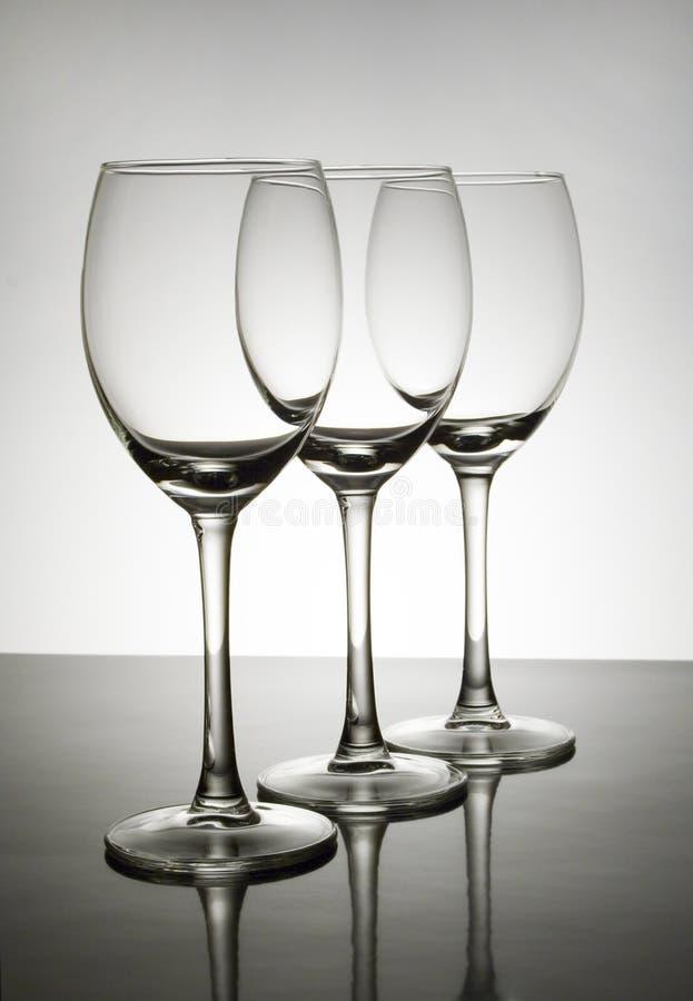 Lege wijnglazen stock afbeelding