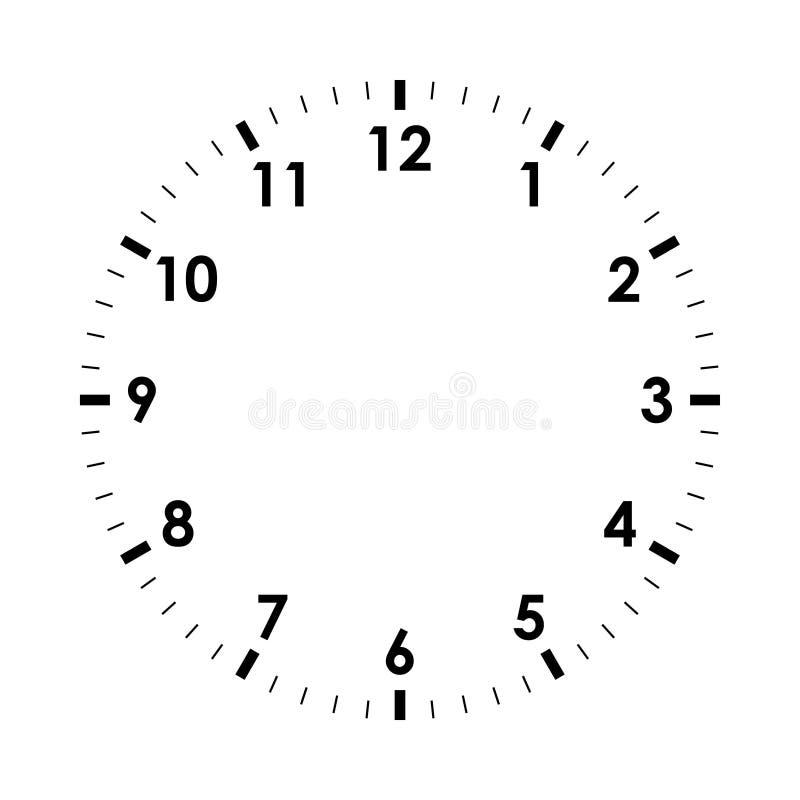 Lege wijzerplaat zonder met de wijzers van de klok mee stock illustratie