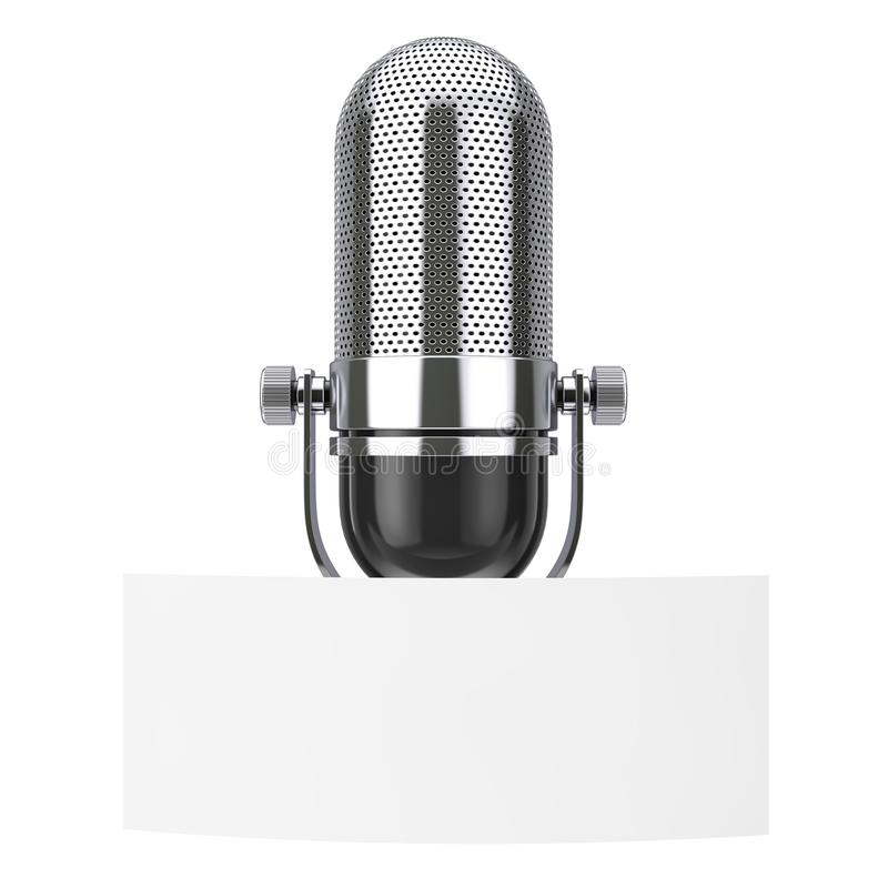 Lege Witboekmarkering met Beschikbare ruimte voor Yourth-Ontwerp voor Uitstekende Microfoon het 3d teruggeven vector illustratie